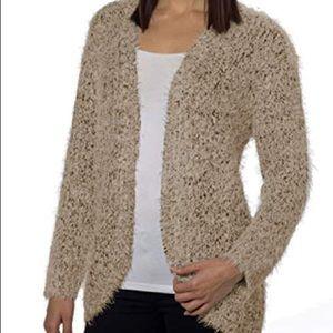 NWT Kensie Eyelash Knit Cozy Cardigan Taupe